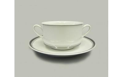 Набор чашек для супа с блюдц. 6шт 0,30л 02160673-0011 Отводка платина, Leander