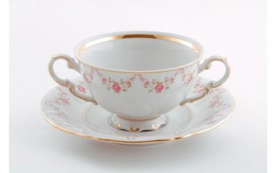 Чашка для супа с блюдцем 2руч. 0,35л 07120624-0158 Верона, Мелкие цветы, отводка золото, Leander