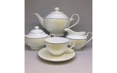 Сервиз чайный 17 преметов на 6 персон Бежевая роза J05-153BG-4, Japonica