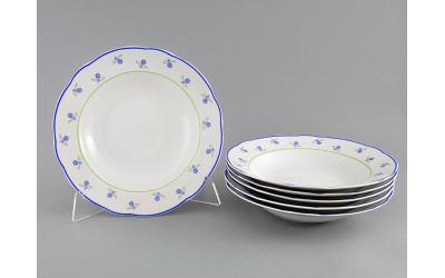 Набор тарелок глубоких 6шт. 23см 03160213-0887 Мэри-Энн Синие цветы, Leander