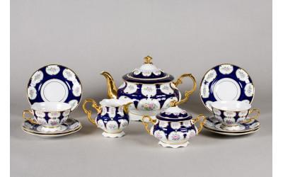 Сервиз чайный 15 предм. 07160725-0419 Соната Розовый цветок, кобальтовый орнамент, Leander