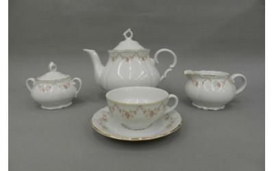 Сервиз чайный 15 предм. 67160725-0158 Верона, Мелкие цветы, отводка золото, Leander