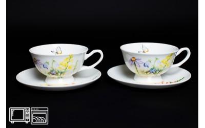 Набор чайных пар 6 шт. 200мл Дейзи Бабочки, костяной фарфор