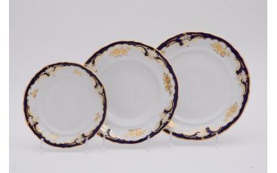 Набор тарелок 18предм.с тарел.дес. 19см 07160119-1457 Соната Кобальтовый орнамент, золотая роза, Leander