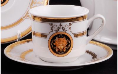 Набор чашек выс. с блюдцем 6 шт. 0,20л 02160415-A126 Версаче золотая лента, Leander