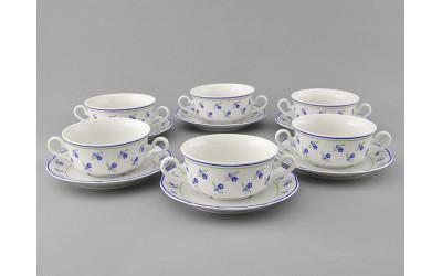 Набор чашек для супа с бл. 2р. 0,35л 6шт. 03160674-0887 Мэри-Энн Синие цветы, Leander