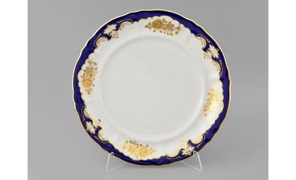 Блюдо круглое мелкое 32см 07111315-1457 Соната Кобальтовый орнамент, золотая роза, Leander
