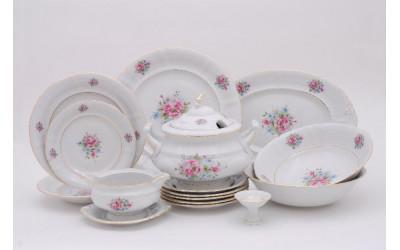 Сервиз столовый 25 предметов на 6 персон Соната Розовые цветы, отводка золото, Leander
