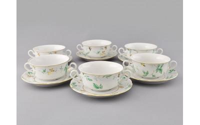 Набор чашек для супа с бл. 2р. 0,35л 6шт. 03160674-1381 Мэри-Энн Зеленые листья, Leander
