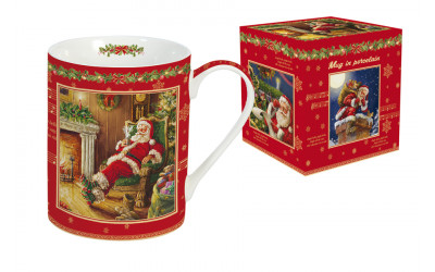 Кружка (красная) Дед Мороз в кресле