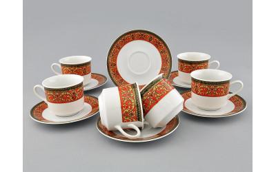 Набор чашек выс. с блюдцем 6 шт. 0,20л 02160415-0979 Красная лента, Leander