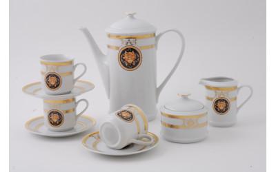 Сервиз кофейный 15 предм. чаш. 0,15л 02160714-A126 Версаче золотая лента, Leander