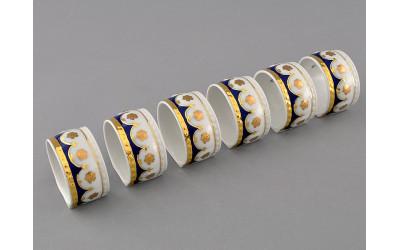 Кольцо для салфеток большое 07114612-0443 Соната Кобальтовый орнамент, золотой цветок, Leander