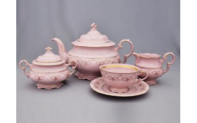 Сервиз чайный 15 предм. 07260725-0158 Верона, Мелкие цветы, отводка золото, Leander