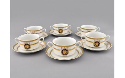 Набор чашек для супа с блюдц. 6шт 0,30л 02160673-A126 Версаче золотая лента, Leander