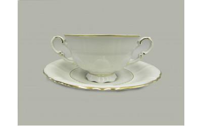 Чашка для супа с блюдцем 2руч. 0,35л 07120624-1139 Соната Отводка золото, Leander