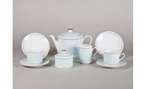 Сервиз чайный 15предм. 02160725-243C Сабина Светло-голубой орнамент, Leander