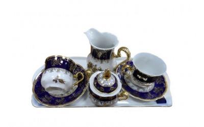 Подарочный набор кофейный Тет-а-тет 03140724-0431 Мэри-Энн Мэри-Энн Золотая роза, кобальтовый борт, Leander