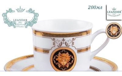 Чашка высокая с блюдцем 0,20л 02120415-A126 Версаче золотая лента, Leander