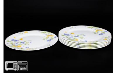Набор тарелок 6 шт. 25 см Сиреневый цветок, костяной фарфор