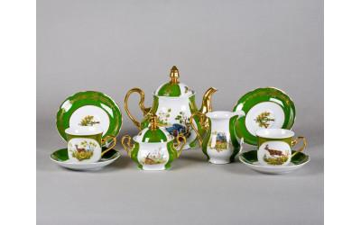 Сервиз чайный 15 предм 03160725-0763 Охота Царская зеленая, Leander