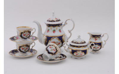Сервиз кофейный 15 предм. 0,15л 07160714-0440 Соната Кобальтовая лента, мелкие цветы, Leander