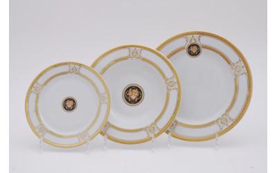 Набор тарелок 18предм.с тарел.дес. 19см 02160129-A126 Версаче золотая лента, Leander