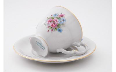 Набор чашек выс. с блюдцем 6шт 0,15л 07160414-0013 Соната Розовые цветы, отводка золото, Leander