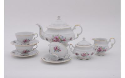 Сервиз чайный 15 предм. 07160725-0013 Соната Розовые цветы, отводка золото, Leander