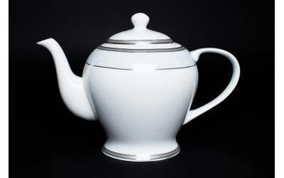 Чайник 1 литр Узор, костяной фарфор