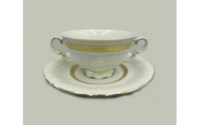 Чашка для супа с блюдцем 2руч. 0,35л 07120624-1239 Соната Золотая лента, слоновая кость, Leander