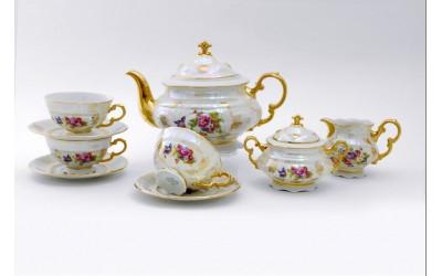 Сервиз чайный 15 предм. 07160725-0656 Соната Цветы, перламутр, Leander