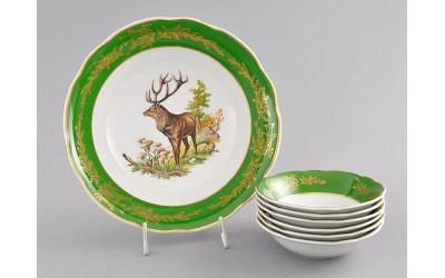 Набор салатников 7пр. 03161416-0763 Охота Царская зеленая, Leander