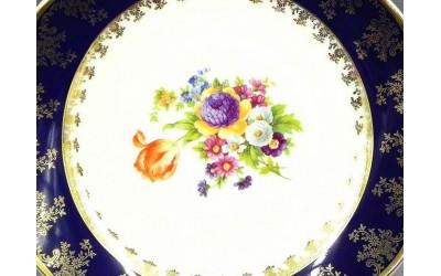 Блюдо овальное 32см 03111512-0086 Мелкие цветы, кобальтовый борт, Leander