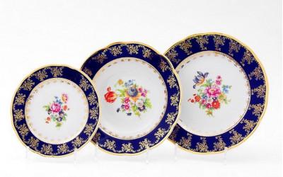 Набор тарелок 18предм. с тар. дес. 19 03160119-0086 Мелкие цветы, кобальтовый борт, Leander