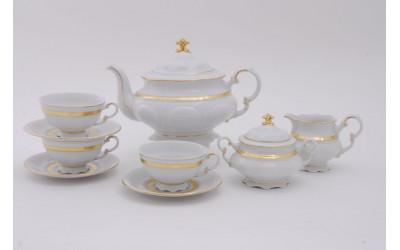 Сервиз чайный 15 предм. 07160725-1239 Соната Золотая лента, слоновая кость, Leander