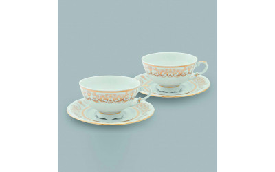 Набор из двух чайных пар  0,20л 07140425-1373 Соната Золотой орнамент, отводка золото, Leander