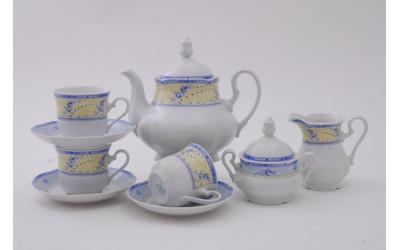 Сервиз чайный 15 предм 03160725-0667 Мэри-Энн Голубые цветы на желтом фоне, Leander