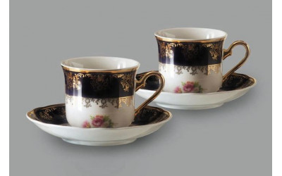 Набор из двух чайных пар  0,20л 03140415-0086 Мелкие цветы, кобальтовый борт, Leander