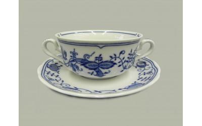 Чашка для супа  с блюдц. 2руч. 0,35л 03120624-0055 Мэри-Энн Гжель, Leander