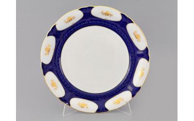 Блюдо круглое мелкое 32см 07111315-0443 Соната Кобальтовый орнамент, золотой цветок, Leander