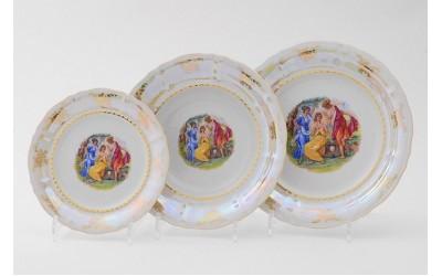 Набор тарелок 18предм.с тарел.дес. 19см 07160119-0676 Соната Мадонна перламутр, Leander