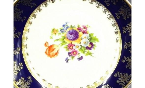 Блюдо круглое мелкое 30см 03111313-0086 Мелкие цветы, кобальтовый борт, Leander