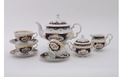 Сервиз чайный 15 предм. 07160725-0440 Соната Кобальтовая лента, мелкие цветы, Leander