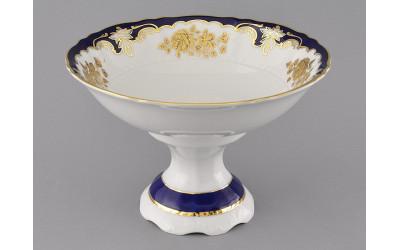 Ваза для фруктов на ножке 23см 07116155-1457 Соната Кобальтовый орнамент, золотая роза, Leander