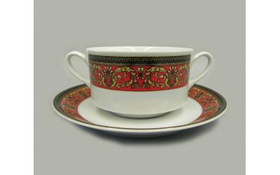 Набор чашек для супа с блюдц. 6шт 0,30л 02160673-B979 Красная лента Версаче, Leander