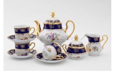Сервиз чайный 15 предм 03160725-0086 Мелкие цветы, кобальтовый борт, Leander