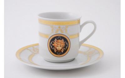 Набор чашек выс. с блюдцем 6шт 0,15л 02160414-A126 Версаче золотая лента, Leander