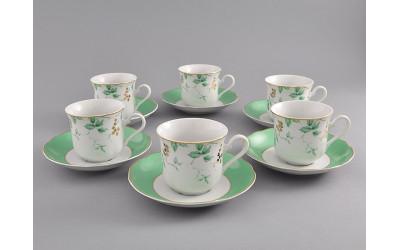 Набор чашек выс. с бл. 0,20л 6шт. 03160415-1381 Мэри-Энн Зеленые листья, Leander
