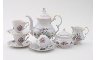 Сервиз кофейный 15 предметов на 6 персон Соната Розовые цветы, отводка золото, Leander